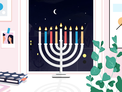 Hanukkah sameach! calm animation home diversity winter holidays holidays winter hanukkah loop gif illustration