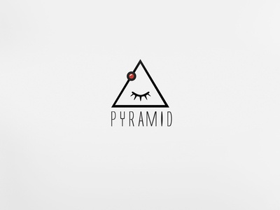 PYRAMID Logo Design dot red eye label reccord pyramid music logo design