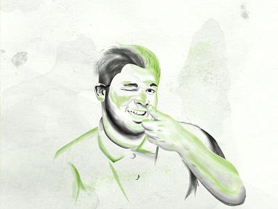 Illustrated Portrait portrait art paint brushes water color illustrated portrait graphic design