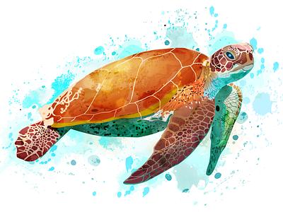 Animal Illustration - Sea Turtle art animal illustration paint art graphic design illustration illustrated portrait
