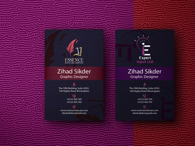 Business Card two company business card duel logo business card logo branding graphic design business card