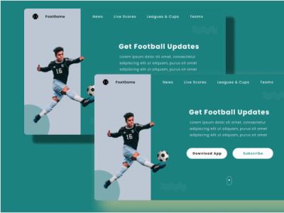 FootGame landing page app branding ui ux design