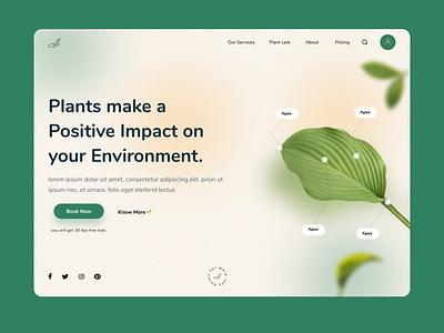 plant based app landing page gogreen plantaap landingpage illustration graphic design branding app ui design ux