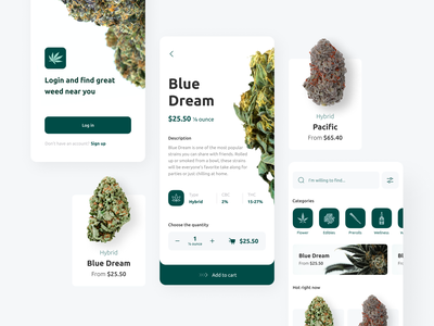 Cannabis store — Mobile app ux ui zoftify weed delivery app cannabis delivery app delivery app product design android ios e commerce mobile app cannabis weed mobile