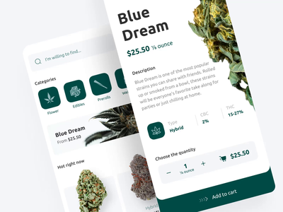 Cannabis store — Mobile weed app mobile app design zoftify weed ui ux mobile product design mobile app design ios e commerce cannabis delivery app cannabis app android