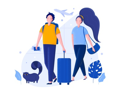 Couple at the airport vacation passengers family woman man plane luggage journey trip airport travel cat couple character vector illustration flat