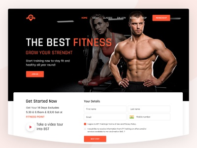 Gym - Landing Page landing page home page gym website fitness website