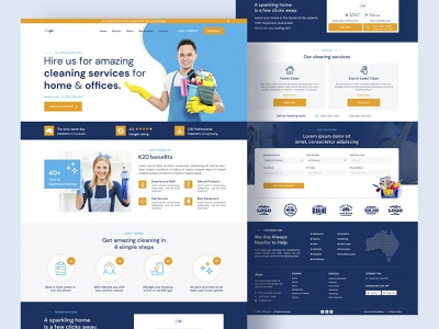 Home and Office cleaning site landing page lease cleaning creative cleaning company office cleaning home cleaning
