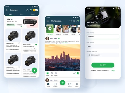 Sell/Rent Camera APP UI concept sign up screen login screen product page home page social media design ecommerce app camera rent camera