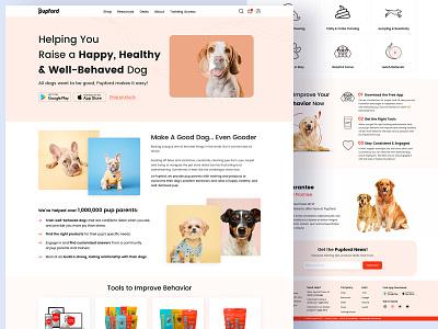 Pet Care - Web-Design (Pupford) product page home page landing product academy shop training petfood petshop pet care