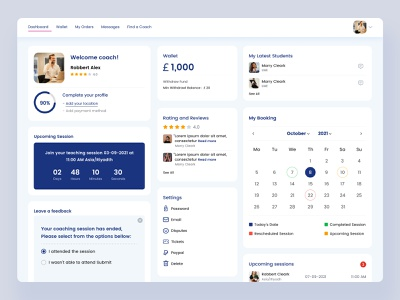 Dashboard | Find a coach concept | hireviser rating feedback setting session coaching upcoming wallet booking student welcome home page find coach responsive web app profile find back-end learner coach dashboard