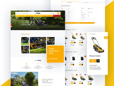 Stiga website layout web shop product ux ui store ecommerce