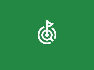 Golf Logomark target search flag line simplae green logomark branding brand golf logo