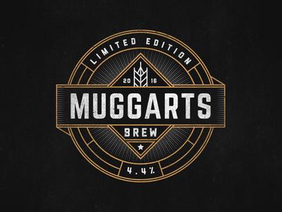 Gold vintage badge label brew ale beer gold