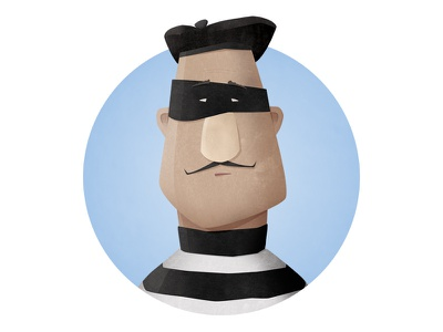 Robber moustache french robber character illustration