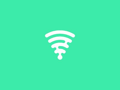 Tech logomark icon logo clean minimal green wireless tech pizza