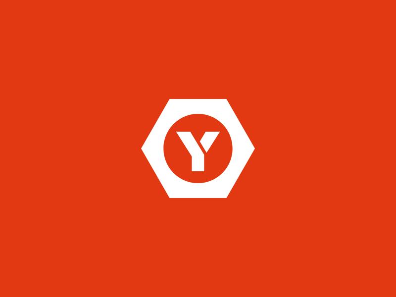 Hardware Store Icon y hexagon diy construction orange logomark icon logo hardware screw nut