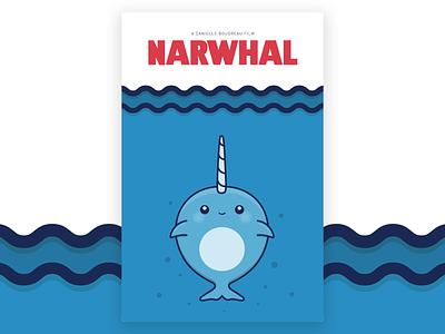 Narwhal Poster Illustration vector illustration design