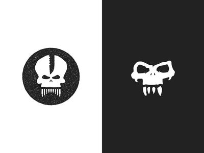Skull Head illustration logo design
