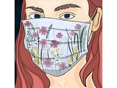 spring mood ipadart procreate virus red head women illustration girl illustration illustraion spring mood springtime