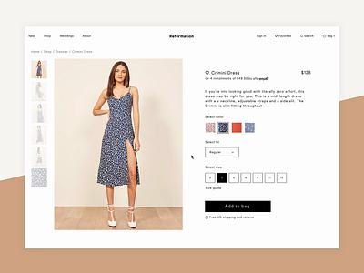 Reformation - Desktop motiondesign interaction design shopping elegant ecommerce interface web ui interaction motion design animation