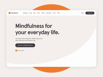 Headspace - Desktop meditation interaction design interface interaction ui motion design animation