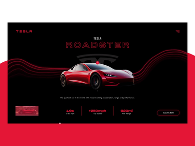 Tesla Roadster car tesla typo after effects webdesign motiondesign interaction design aftereffects interface web ux typography interaction ui motion design animation