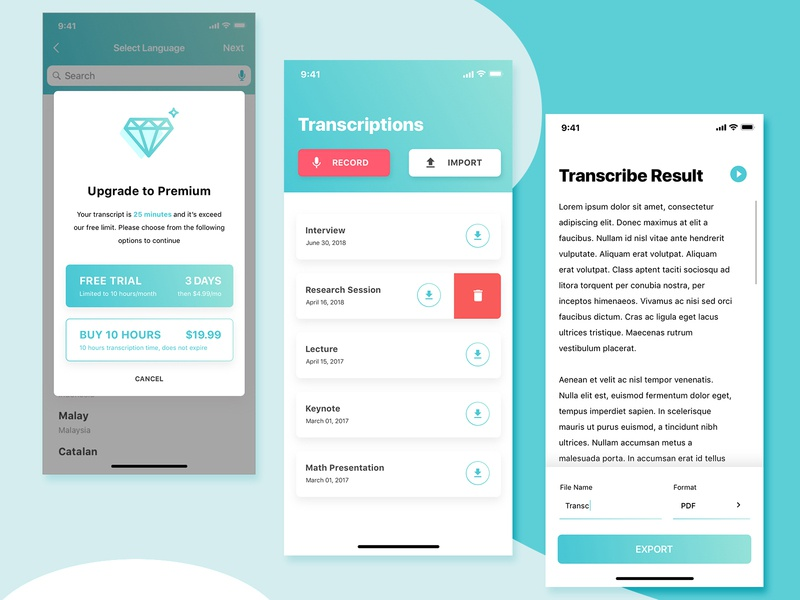 Transcribing App - Main Screen Details by Stefano Okti on