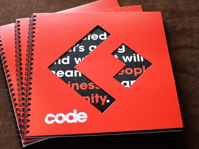 Notebook From Recode's Code Conference typogrpahy die cut red print recode