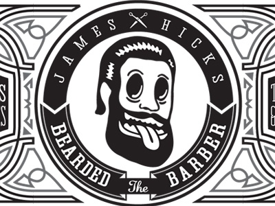 James Hicks BC logo business card filigree pinstriping greaser barber scissors badge 1 color beard