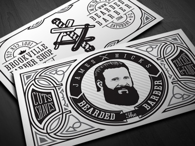 James Hicks BC - Update business card barber beard logo identity illustration filigree pinstriping straight razor barber pole 1 color