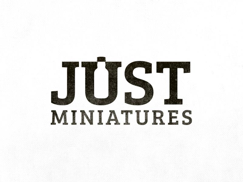Just Miniatures Logo Design blackwhite space negative re-branding branding miniatures font bottle message hidden design logo