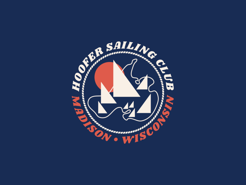Hoofer Sailing Club minimal sailing madison wisconsin vector flat design badge branding badges badge design