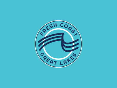 Fresh Coast - Great Lakes vector minimal badge flat design stickers branding badge design badges
