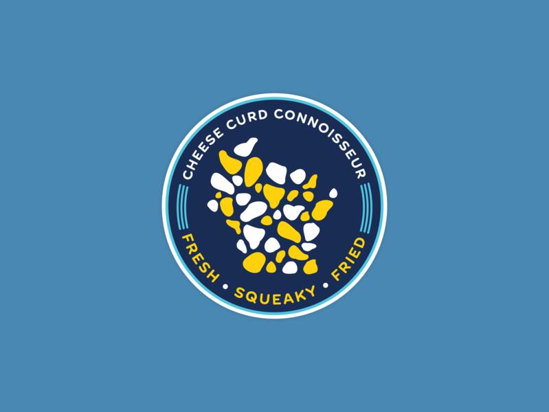 Cheese Curd Connoisseur wisconsin flat design badge branding stickers badges badge design