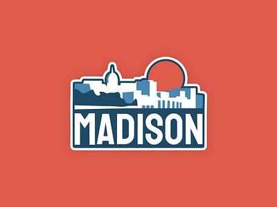 Madison, Wisconsin Sticker minimal design branding cityscape wisconsin madison badge flat vector illustration stickers badges badge design