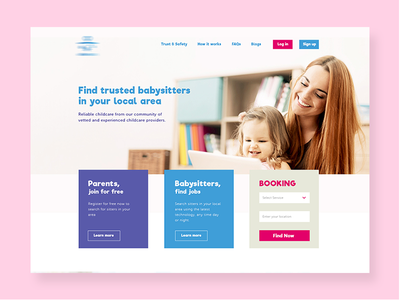 Babysitter Website booking parents baby sitter header website design
