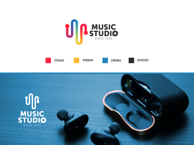 Music studio logo graphic design logo design branding