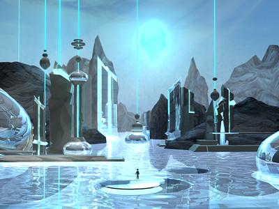 a whimsical water world set design 3d modeling rendering maya