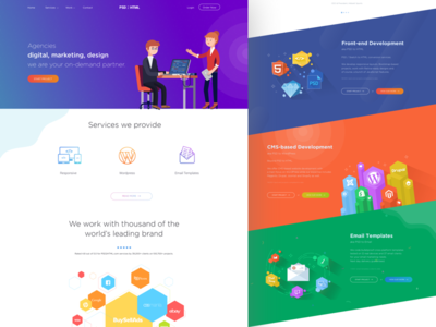 PSD2HTML Redesign email template development software ux design ui design web design code agency psd web illustration colorful
