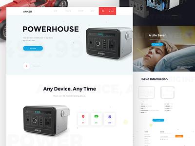 Anker Powerhouse website software modern web design ui product design clean design homepage landing page