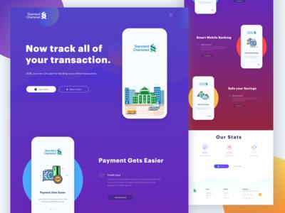 Simple Landing Page Concept V2 landing fresh mobile bank payment iphone ui colorful gradient finance illustration ios bank app