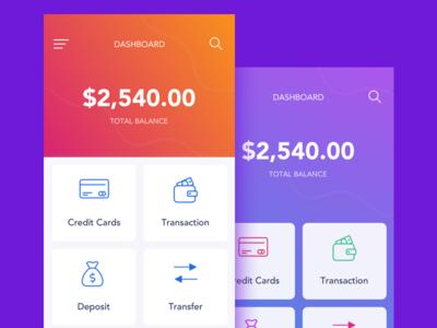 Scbl Dashboard credit mobile bank payment iphone ui splash colorful gradient finance app illustration ios bank app