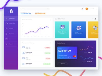 Bank Dashboard clean ui colorful ui gradient ui payment transaction credit card ui design graph bank dashboard