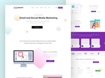 Vertical Response Redesign digital marketing testimonials gradient media marketing email marketing marketing landing page clean ui redesign