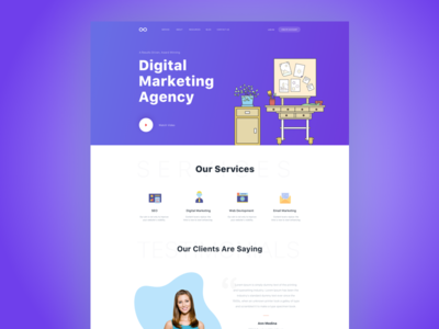 Digital Marketing Homepage gradient banner web agency video digital marketing agency clean design email marketing seo agency digital marketing