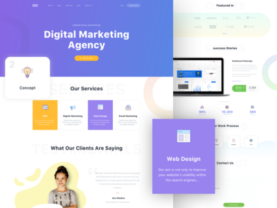 Digital Marketing Homepage V3 gradient banner web agency video digital marketing agency clean design email marketing seo agency digital marketing
