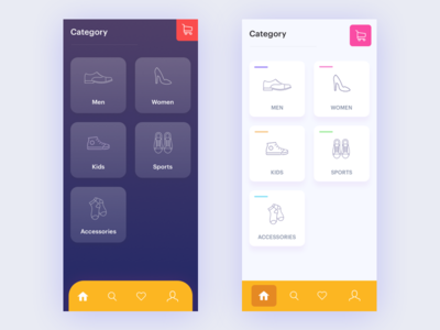 Category Screen clean ui store shoe app shopping category kids ecommerce iphone x mobile ios app