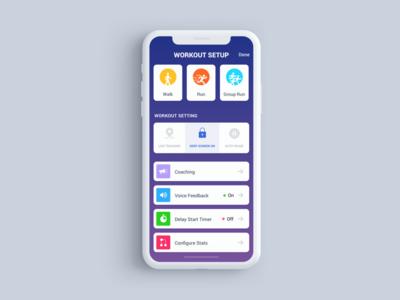 Workout Setup Screen V2 app user interface workout fitness ios app mobile app clean ui inspiration fitness app