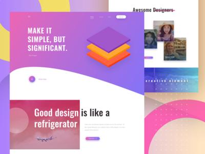 Design Jokes simple homepage good design inspiration clean design gradient landing